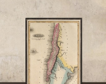 Old map of Chile - Chile map archival print - Old map restored  - Giclee reproduction