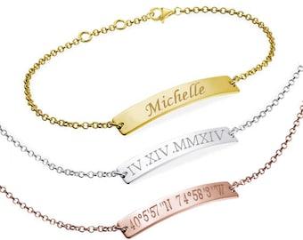 Roman Numeral Bracelet, Date Bracelet, Wedding Date Bracelet, Custom Date Bracelet, Bar Bracelet, Monogram, bridesmaid gift, Wedding