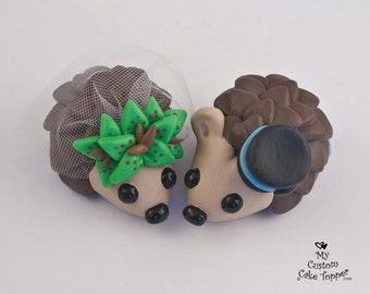 Hedgehogs Wedding Cake Topper with Lilies