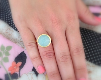 Round Gold Stone Ring Great for Bridesmaids
