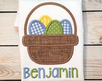 Boys Easter egg basket appliqué shirt or onesie with name, boys Easter shirt, Easter monogram shirt