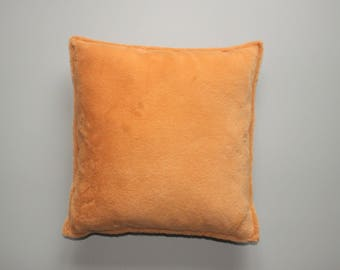 Orange faux fur pillow cover 18x18, 20×20 inch 45x45, 50×50 cm