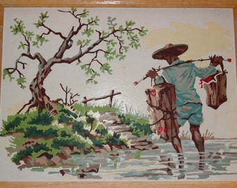 Paint by Number, Asian Themed Paint By Number, Fisherman, Orient, Ocean, Sea, Fishing Net, oriental, Floral, Fish baskets
