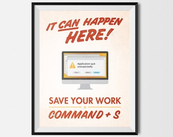 """Save Your Work! Mac Graphic Design Printable Poster Red 8.5""""x11"""""""