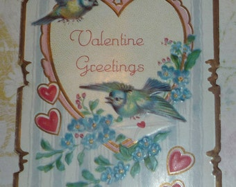 Birds and Hearts Antique Valentine Card