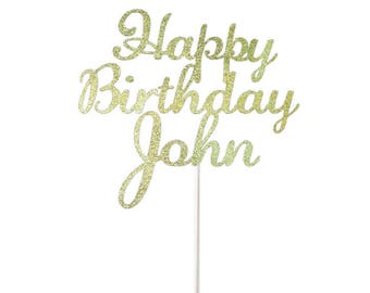 Personalized Happy Birthday Cake Topper- Any Color Glitter