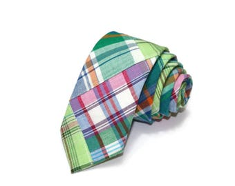 Green Patchwork Madras Plaid Necktie~Anniversary Gift~Wedding Tie~Boys Necktie~Mens Necktie~Wedding~Mens Tie~Boys Tie~Purple~Orange