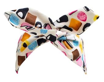 Liquorice Allsorts Wire Headband, Dolly Bow, Pin Up Rockabilly Hair Wrap, Bandana, Hair Scarf, Hair Tie, Dolly Mixture Headband in Cream