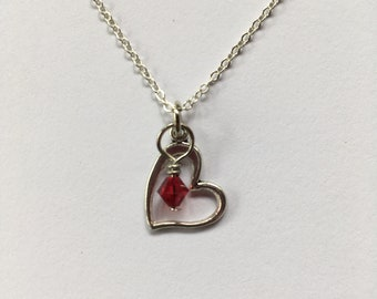 Heart Charm Necklace with Birthstone, Personalized Necklace