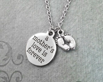 A Mother's Love is Forever Necklace SMALL Mom Necklace  Mom Jewelry Mother Necklace Mother's Day Necklace New Baby Gift Baby Feet Necklace