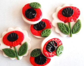 Button Retro Red Poppy handmade polymer clay button set ( 6 )