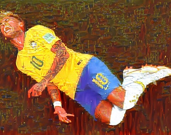 2018 World Cup-Brazil vs Switzerland-Neymar-Oil Painting On Canvas-30*20 Inches-Abstract/Impressionist/Vintage/Contemporary Art Style