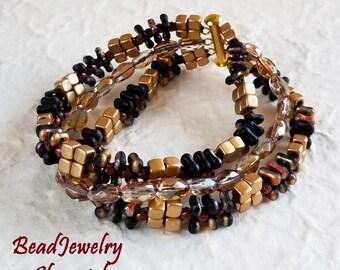 Blackfire and Gold Multi-strand Bracelet