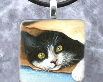 Art Glass Pendant 1x1 Jewelry Necklace Earrings from art painting tuxedo Cat 301 by L.Dumas