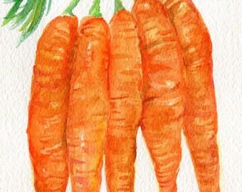 Carrots original watercolor Painting  4 x 6 watercolor art, food art watercolor painting of carrot bunch, kitchen wall art, kitchen decor