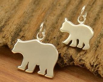 Sterling Silver, Mama Bear, Baby Bear, Stamping Blank, Bear Charm, Silver Bear Charm, Stamping Charm, Mama Bear Charm, Baby Bear Charm