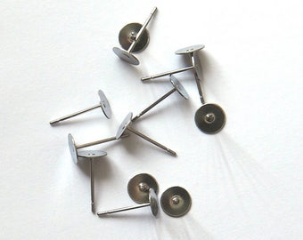 Earring Posts - Stainless Steel x 10  (5 pairs)