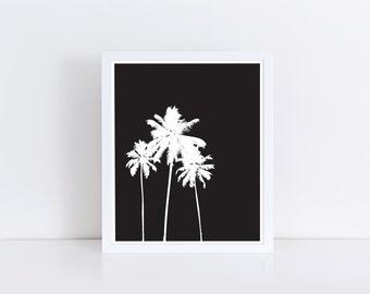 Palm Trees Print, Huntington Beach, Palm Springs Art, Beachy Decor, Black and White, Themed, Christmas, in California