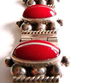 Mexican sterling silver bracelet | silver panel cuff | vintage red glass cabs bracelet | Mexican jewelry | Taxco