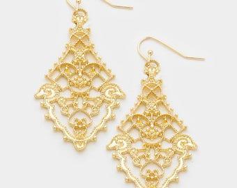 Antique Gold Filigree Fashion Earrnings