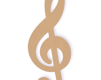 One Large 22 inch Unfinished Wooden Treble Clef Sign Cutout