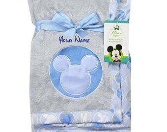 Disney blanket etsy personalized monogrammed disney baby mickey mouse blue and grey fleece blanket with name embroidery baby shower negle Choice Image