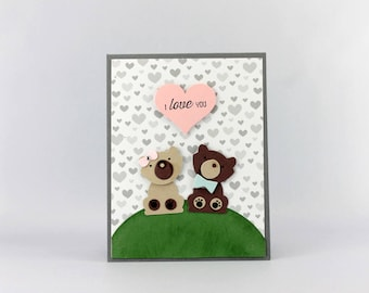 Hand Stamped Teddy Bear Card - Teddy Bear Greeting Card - Teddy Bear Card - I Love You Stampin' Up! Card - Stampin' Up! Punch Art Card