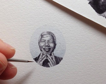 FRAMED Miniature Painting of Nelson Mandela by Brooke Rothshank