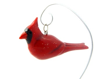 Bright Red Sparkly Cardinal Bird Hand-Sculpted Christmas Ornament Polymer Clay