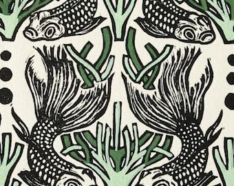 Fish linocut print - original art work - home decor - housewarming gift