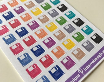 A44 - Save - Computer - Floppy Disk Planner Stickers