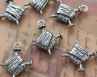 10 Knitting Charms Knitting Pendants Yarn and Needle Charms Antiqued Silver Tone 16 x 17 mm