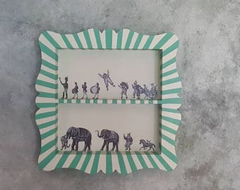 SOLD SOLD SOLD Handpainted shelf in Annie Sloan chalk paint and decoupage with a Circus theme + Free P&P