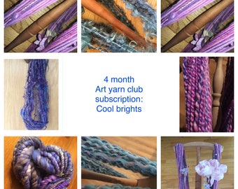 "Monthly art yarn club TRIAL subscription - ""cool brights"""