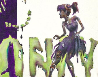 zombie//zombie girls art//teenager room//horror//dorm room//teenage art//alternative art