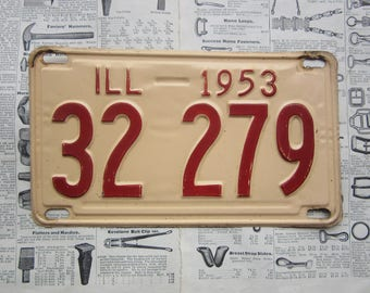 Vintage Illinois License Plate 1953 Red and Pink Cream Metal Man Cave Garage Sign Hanger Illinois  Rusted Aged Old Sign Distressed