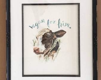 Framed Original Watercolor of Chester the Calf