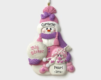 Big Sister Little Sister Personalized Ornament - Hand Personalized Christmas Ornament