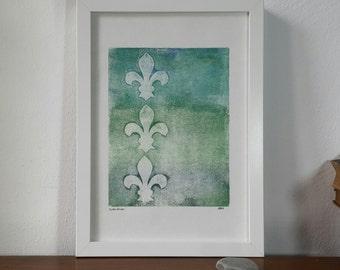 BatonRouge, monoprint, monotype, original artwork, modern art, abstract art, fine art, print art, fleur de lis, floral, contemporary, royal