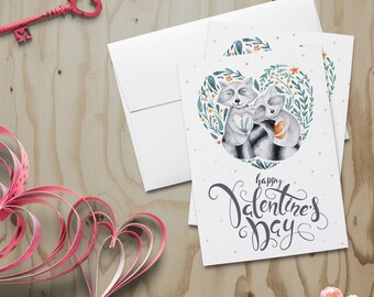Raccoon Valentine Card~Woodsy Valentine~Wildlife Valentine~Raccoon Family~Watercolor Note Card~Hand Painted Note Card~Valentines Day Card