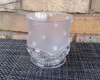 Hurricane Candle Holder // Raised Pink Flowers // Frosted Glass // Pressed Glass