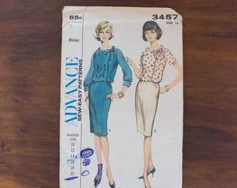1964 Advance Sew-Easy 3457 Misses' Two-Piece Dress Pattern- Size16 Bust 36 Waist 28- Uncut