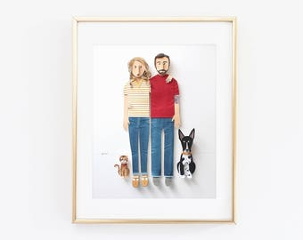 Custom Couple Paper Portrait with Short Hair Dog and Cat