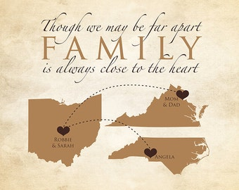 Gift for Family, Mom and Dad, Parents, Brother, Sister - 3 Maps, Thank You Parents, Siblings, Quote, Gift, Christmas