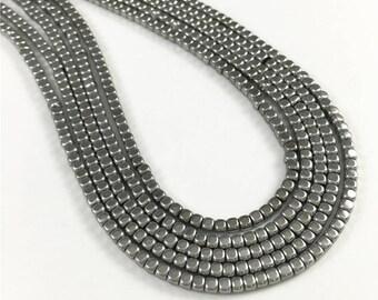2mm Hematite Beads,Silver Cube Gemstone Beads,Hematite Jewelry