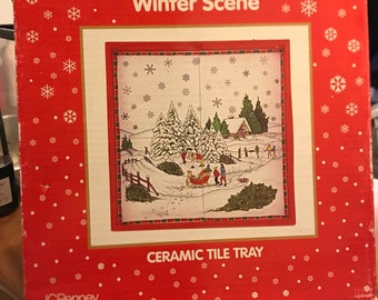 JCPenney Ceramic Tile Tray, Winter Scene