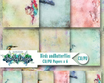 CU Commercial Use Background Papers set of 6 for Digital Scrapbooking or Craft projects BIRDS and BUTTERFLIES Papers, Designer Stock Papers