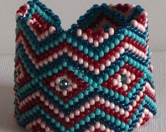 Bead weaving bracelet, Beaded Bracelet, Native American Bracelet, Turquoise Bracelet