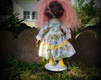 Vampire art doll, handmade polymer clay doll, african american doll, ooak doll, one of a kind, gothic art doll
