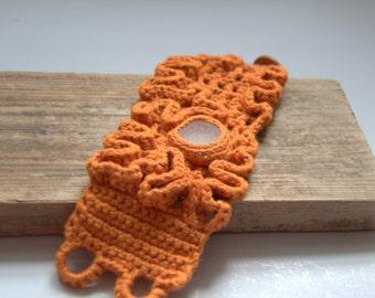 Crochet bracelet earrings with sea glass gift for her Pumpkin Orange cuff wrist buttons handmade autumn fall Thanksgiving